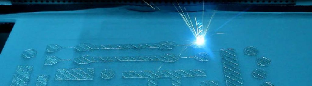 close up of laser cutting process used in additive manufacturing